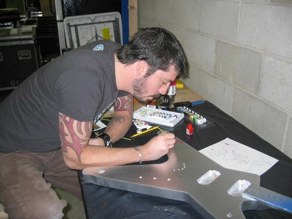 Dave painting the guitar